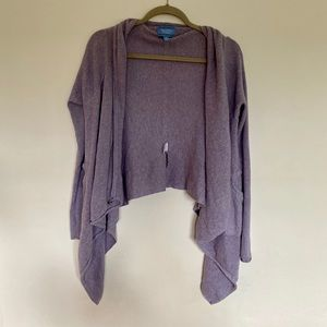Asymmetric lavender cardigan sweater